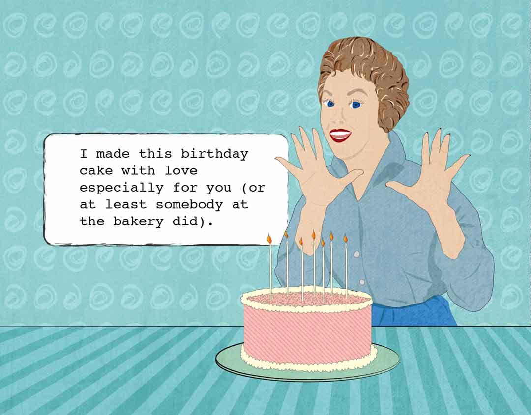 sassy lady and birthday cake